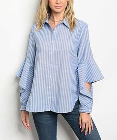 Forever Lily Blue & White Stripe Ruffle-Sleeve Top | zulily