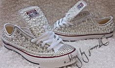 Adults custom bling and pearls converse Bedazzled Shoes, Bling Shoes, Glitter Shoes, Glitter Gif, Pink Glitter, Converse Wedding Shoes, Wedding Sneakers, Prom Shoes, Bling Inverse