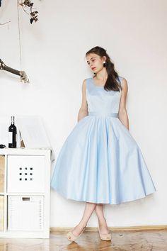 Tea length cocktail dress Sky blue elegant dress  Evening gown Full skirt dress Bridesmaid Prom ball dress by PerunowyKwiat on Etsy