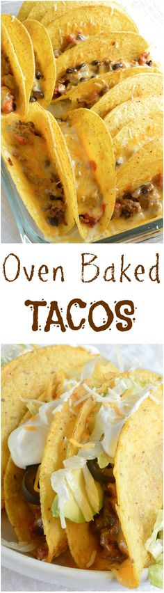 Oven Baked Tacos are perfect for feeding a crowd!  This quick and easy taco recipe is full of flavor and melty cheese! Also a great weeknight dinner meal. #dinner wonkywonderful.com