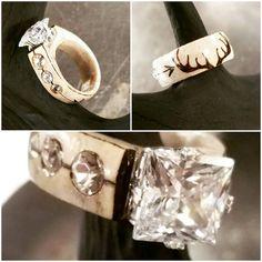 AntlerSterling silver and CZ ring with Antler pyrography and Deer Antler Crafts, Deer Antler Ring, Antler Art, Deer Horns, Antler Jewelry, Bone Jewelry, Jewelry Art, Unique Wedding Bands, Wedding Rings