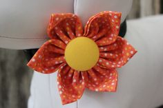 """""""Orange and Yellow"""" Collar Flower for dogs and cats. Created and designed by BARKS A LOT BOWTIQUE. Velcro strap secures around any collar. www.barksalotbowtique.com"""
