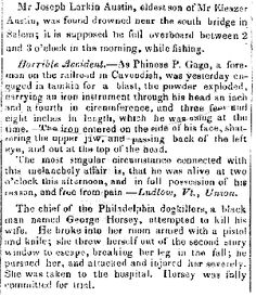 Phineas Gage Images: News of Gage's Accident