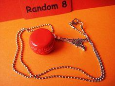 French Macaron & Eiffel Tower Necklace Polymer Clay by bubucraftie, $9.00