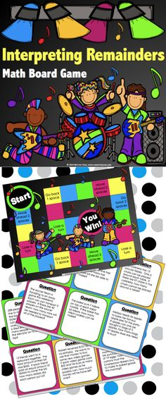 Division: Interpreting Remainders Game contains 36 WORD PROBLEM game cards and a game board to help students practice interpreting the remainder in division word problems. This game works great as a pair/group activity, in math centers, or for use as an informal assessment tool.