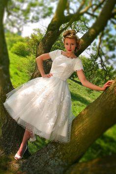 House of Mookshi swiss dot 50s style tea length dress