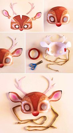 Festive Rudolph the Red Nosed Reindeer mask printable template by Happythought Theme Carnaval, Diy Paper, Paper Crafts, Printable Animal Masks, Fun Crafts, Crafts For Kids, Mask Template, Paper Mask, Indoor Activities For Kids