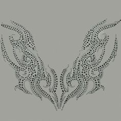 15x11  - SILVER/BLACK FLAMING WING (STONE) - bargain rhinestones, Bargain Rhinestones/Rhinestuds, Material Transfer