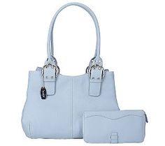 Tignanello Pebble Leather Dble Handle Shoulder Bag with Wallet - QVC.com