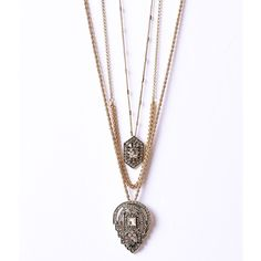 Gold Triple Chain & Silver Crystal Art Deco Pendant Layered Necklace ($26) ❤ liked on Polyvore featuring jewelry, necklaces, multicolor, crystal necklace, crystal pendant, gold pendant necklace, gold necklace and triple layer necklace