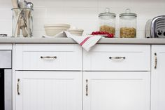 Get the look: Use our Antique Bow kitchen cabinet handles to give your kitchen that country feel... +kaboodle kitchen