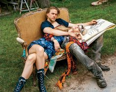 Charlie Hunnam embraces @trentinireal in Marc Jacobs Resort 2015 for @voguemagazine