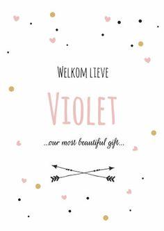 Hip en trendy geboortekaartje voor een meisje met roze, zwarte en okergele hartjes en stipjes. Verkrijgbaar bij #kaartje2go voor €1,89