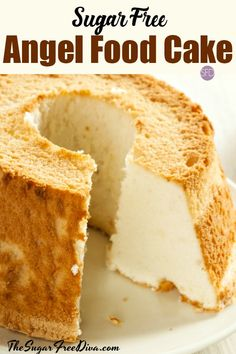 This is the perfect cake for about every kind of occasion. This is the recipe for how to make Sugar Free Angel Food Cake. Diabetic Desserts, Healthy Snacks For Diabetics, Diabetic Recipes, Desserts For Diabetics, Diabetic Cookbook, Sugar Free Deserts, Sugar Free Recipes, Sugar Free Angel Food Cake Recipe, Sugar Free Foods