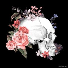 Dramatic skull with flowers anatomy artwork that could be wallpaper Black And White Flowers, Black White, Skulls And Roses, Flower Skull, Anatomy Art, Skull Art, Color Tattoo, Photoshop, Art Drawings