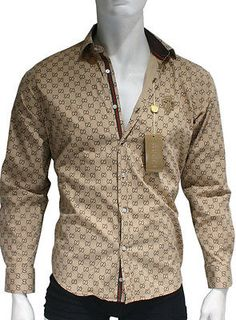 e23ed48c7 Details about NEW With TAGS Men's GUCCI Slim Fit Long Sleeve SHIRT Size  M-L-XL-2XL