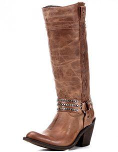 Alyssa Harness Boot - Distressed Cognac Tall Boot