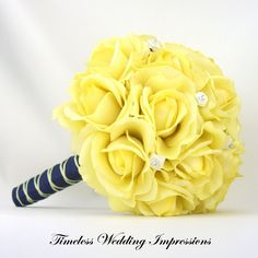 Yellow Wedding Bouquet Bridal Roses Navy Blue by TimelessWedding, $145.00