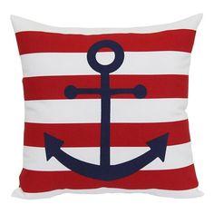 Americana Anchor Outdoor Throw Pillow