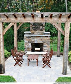 Beautiful Pergola Design Ideas with Exquisite Impression: Outstanding Outdoor Fireplace Traditional Patio Design With Soft Brown Pergola Des. Outdoor Pergola, Wooden Pergola, Backyard Pergola, Outdoor Rooms, Outdoor Living, Rustic Pergola, Rustic Outdoor, Sloped Backyard, Pergola Lighting