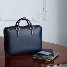Introducing the Slim Briefcase, a discerning businessman's everyday companion. New to Smythson.com. #business #briefcase #gentleman
