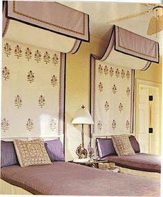Love the hanging fabric idea...