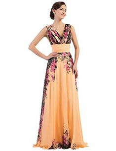 84bee5dbef1 Shop a great selection of GRACE KARIN Floral Print Graceful Chiffon Prom  Dress Women (Multi-Colored). Find new offer and Similar products for GRACE  KARIN ...