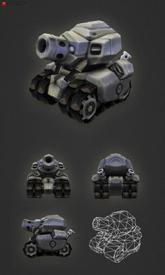 Low Poly Tank This little tank is a low poly model meant for game projects that need to run on mobile devices or browsers. The compact proportions make it easy to read its shape even at a distances which makes it perfectly suitable for strategy games.