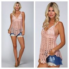 "Crochet Knit Tank Top Light Pink Knit Crochet Tank Top. See Through Knitting with a Deep V-Neckline. 100% Cotton. Very Flattering Fit. Perfect for beach days to throw over a bikini or bandeau top!   ✨Use the ""Buy Now"" or ""Add to Bundle"" Button to select your size for Purchasing✨ Tops Tank Tops"