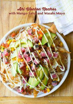 Ahi tuna wonton chip nachos with Wasabi aoli, roasted corn relish and avocado. I'm in love!
