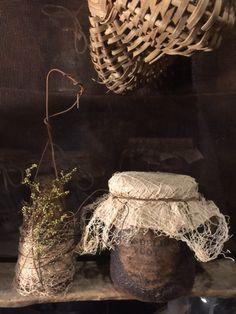 Primitive Pantry Jar Grubby DANDELION ROOT  Cupboard Tuck Early Look Farmhouse