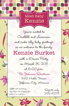 Welcome Baby Girl Mod Shower Invitation Demask by kottageon5th