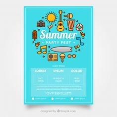 Party festival poster with intruments Free Vector