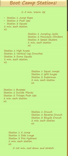 Boot Camp that you can do at home! Grab a friend to join and help motivate each other through each 2 minute stations!!!