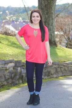 "Piko Please! Short Sleeve Top- Coral $27! Take 10% OFF using promo code ""kate6556"" at Juliana's Boutique"