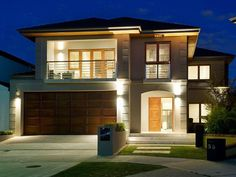 Photo of a weatherboard house exterior from real Australian home - House Facade photoComo ter a planta dessa casa e projecto Peco ajudaTop 100 Facade Ideas With Feature Lightinghome facade images - - Yahoo Image Search ResultsHome Interior Design Ide Modern House Plans, Modern House Design, House Exterior Design, Interior Design, Style At Home, Weatherboard House, Double Storey House, Decoration Inspiration, Style Inspiration