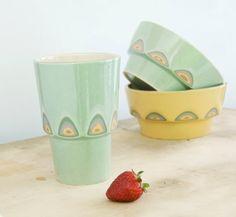 Ceramic stoneware cocoa cup coffee tea mug - unique handmade serving decorative textured kitchen pottery modern morning coffee - ecru green on #Etsy