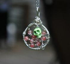 Cherry Quartz Skull Tree of Life necklace by WitchsChamber on Etsy