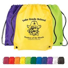 Classic Drawstring Backpack available in many colors.  Includes a one-color custom logo.  As low as $1.55 each.