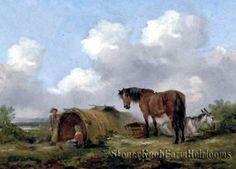 The Gypsy Encampment ~ George Morland, Landscapes, Horses ~ Cross Stitch Pattern #StoneyKnobFarmHeirlooms #Frame