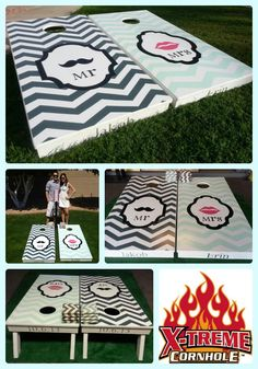 Wedding season is coming up!!! ♥ Impress your guests or that special couple with a set of custom designed cornhole boards for the big day, engagement party, rehearsal party, or jack & jill. Can be customized with personalized colors, names and dates. $150 for a set of boards, 8 bags and a score tower that holds 2 drinks. ♥ 480-861-1722