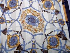 Vintage scarf equestrian navy  blue white and golden by CHEZELVIRE, $15.00