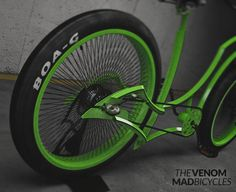 The Venom. Tomorrow. Stay tuned. #custom #bicycle #customlife #badass #goth #green #crank #lowlife #fat by madbicycles