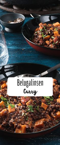 Veganes Belugalinsen-Curry It's going to be exotic: In our REWE recipe for delicious curry, fine beluga lentils with their nutty aroma make for a very special touch. Vegan Lentil Soup, Vegan Curry, Lentil Curry, Lentil Recipes, Curry Recipes, Veggie Recipes, Healthy Recipes, Vegan Nutrition, Vegan Dinners