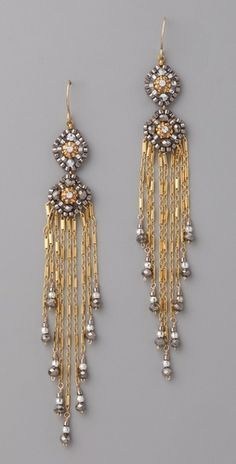 Miguel Ases Pyrite Quartz Tassel Earrings