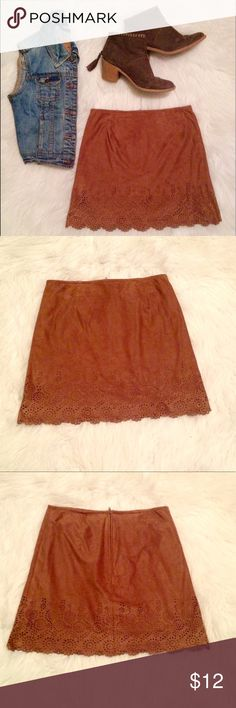 Lace scalloped brown suede skirt This skirt is in great condition and has no rips, tears, spots, or stains. It says L which is really a size 14.These products come from a smoke free home‼️ Bundles = $ saved‼️Buy 3 or more things and get 30% off your purchase‼️ byxby Bottoms Skirts