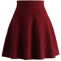 Chicwish Wine Embossed Knitted Skater Skirt ($42) ❤ liked on Polyvore featuring skirts, red, red skirt, red flared skirt, flared skirt, skater skirt and circle skirt