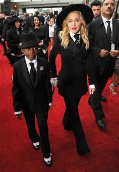 Madonna and her son David Banda arrive at the 56th annual Grammy Awards at Staples Center in Los Angeles on January 26, 2014.