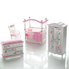 PINK & WHITE Victorian Baby Nursery Hand-Painted Dollhouse Miniature Canopy Crib Set. $265.00, via Etsy.