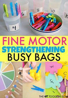 Busy Bag ideas for building fine motor strength